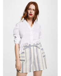 Violeta by Mango - Striped Linen-blend Bermuda Shorts - Lyst