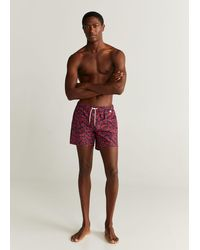 Mango Hawaiian Print Swimming Trunks - Red
