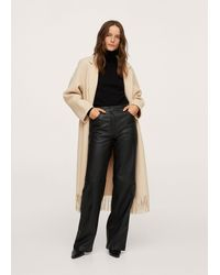 Mango High-rise Leather Trousers - Black