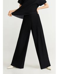 Mango Pleated Flowy Trousers - Black