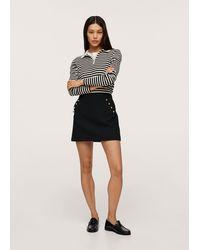 Mango Button Detail Miniskirt - Black
