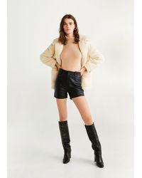 Mango High-waist Leather Shorts Black