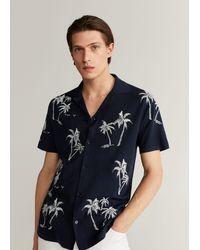 Mango Embroidered Cotton Knit Shirt - Blue