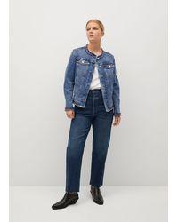 Mango Fringed Denim Jacket Medium Blue