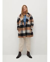 Mango - Manteau carreaux laine - Lyst