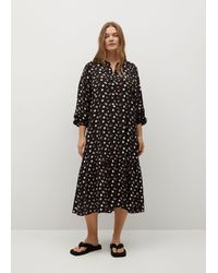 Violeta by Mango Printed Long Dress - Black