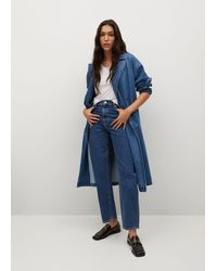 Mango Double Breasted Denim Trench - Blue