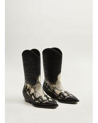 Mango Leather Cowboy Ankle Boots Black