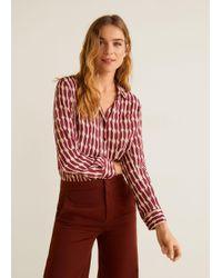 ce38464fee24a6 Lyst - Mango Printed Flowy Shirt in Red