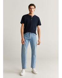 Mango Henley Cotton T-shirt - Blue