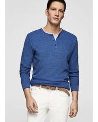 Mango - Flecked Henley Sweater - Lyst