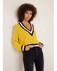 Mango - Contrast Panel Sweater - Lyst