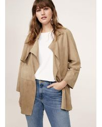 Violeta by Mango - Lapelled Suede Coat - Lyst