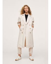 Mango Double Breasted Denim Trench - Natural