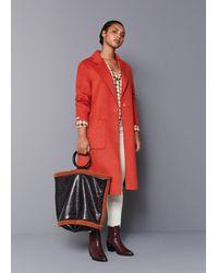 Violeta by Mango Contrast Faux-shearling Shopper Bag - Black