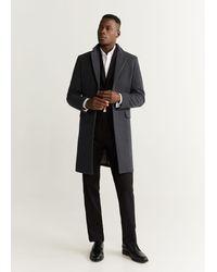 Mango Tailored Wool-blend Overcoat Gray