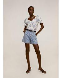 Mango - Floral Print Blouse Off White - Lyst