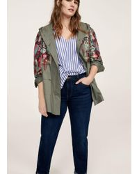 Violeta by Mango - Embroidered Cotton Parka - Lyst