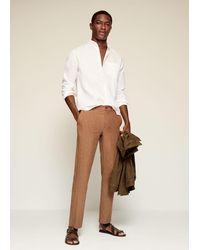 Mango Slim-fit Mao Collar Linen Shirt - White