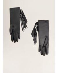 Mango - Fringed Leather Gloves - Lyst