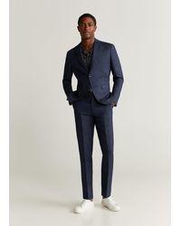 Mango Slim Fit Linen Suit Blazer Dark Navy - Blue