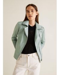 Mango - Zipper Leather Biker Jacket - Lyst