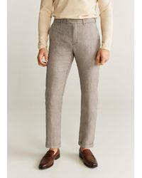 Mango Linen Houndstooth Pants - Natural