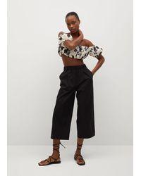 Mango Pantaloni culotte cotone - Nero