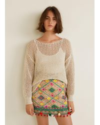 Mango - Pom Poms Embroidered Skirt - Lyst