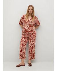 Violeta by Mango Flowy Printed Trousers - Red