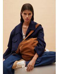 Mango Leather Bucket Bag Leather - Blue