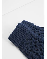 Mango | Suede Cable-knit Fingerless Mittens | Lyst