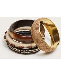 Mango Combined Bracelets Pack Ecru - Multicolor