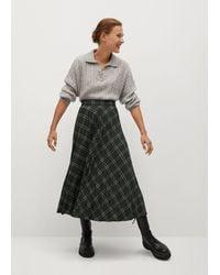 Mango Checked Pleated Skirt - Green
