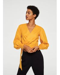 Mango - Linen Wrap Blouse - Lyst