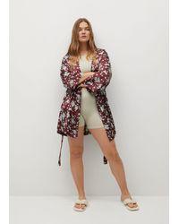 Mango Printed Kimono Jacket Maroon - Multicolor