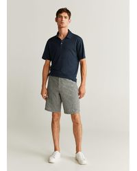 Mango 100% Linen Polo Shirt - Blue