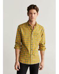 Mango Geruit Katoenen Regular-fit Overhemd - Geel