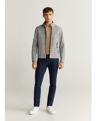 Mango - Checked Water-repellent Jacket Light Heather Grey - Lyst
