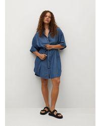 Violeta by Mango Lyocell Denim Dress - Blue