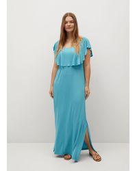 Violeta by Mango Ruffle Knit Dress - Blue