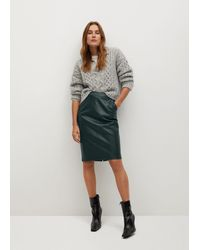 Mango Faux-leather Pencil Skirt - Green