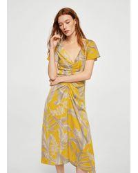 Mango - Draped Floral Dress - Lyst