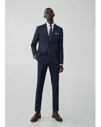 Mango Super Slim Fit Suit Pants Night Blue