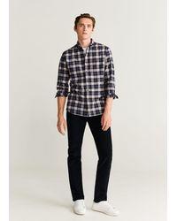 Mango Geruit Flanellen Regular-fit Overhemd - Zwart