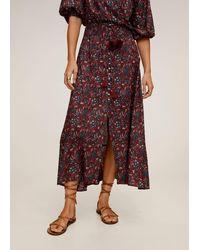 Mango - Floral Print Skirt Maroon - Lyst