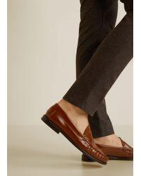 Mango - Fur Patent Loafers - Lyst