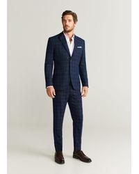 Mango Geruite Slim-fit Pantalon - Blauw