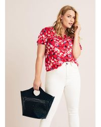 Violeta by Mango - Flowers Linen-blend T-shirt - Lyst