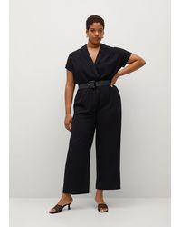 Violeta by Mango Belt Long Jumpsuit - Black